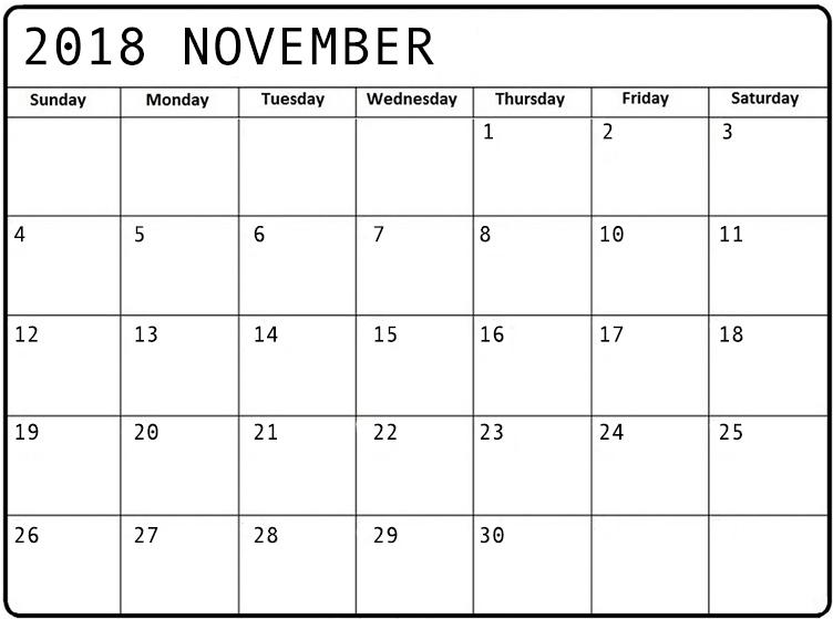 Online November 2018 Calendar Excel