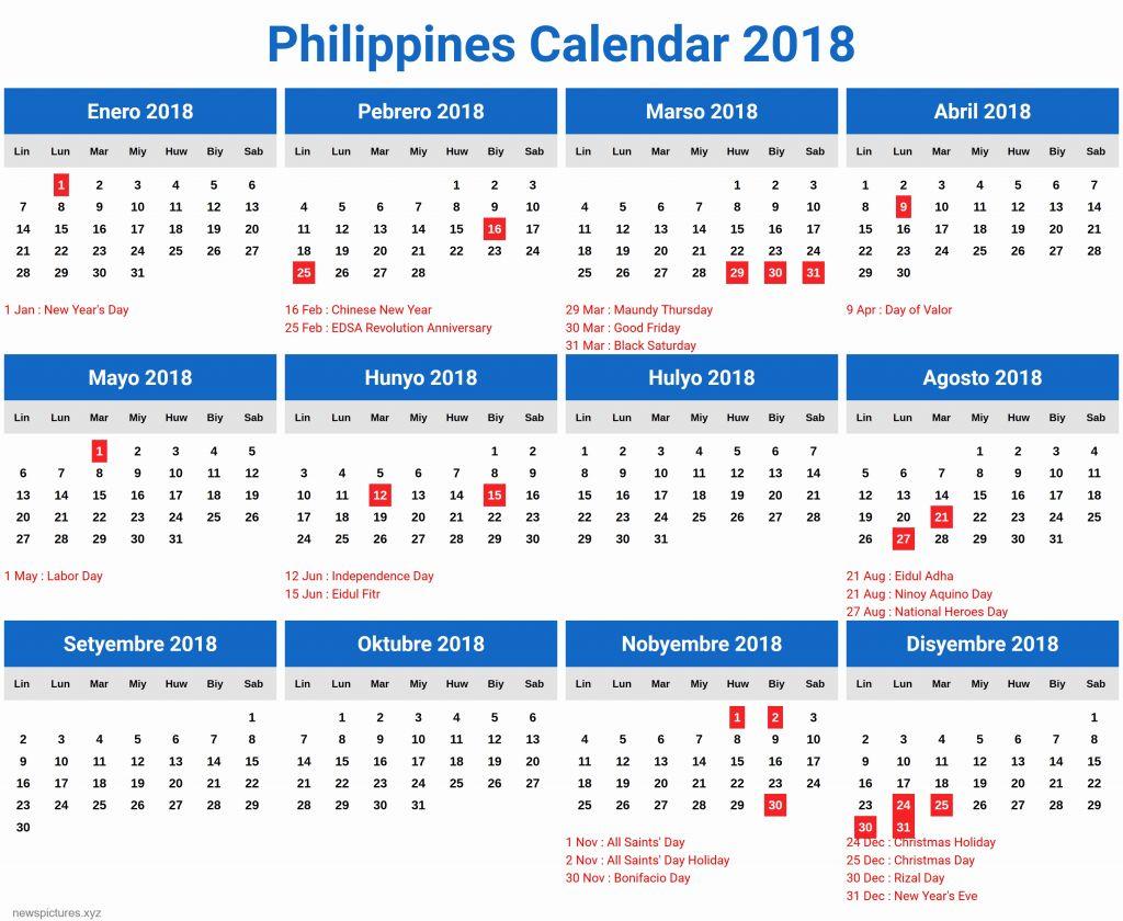Philippines Calendar 2018