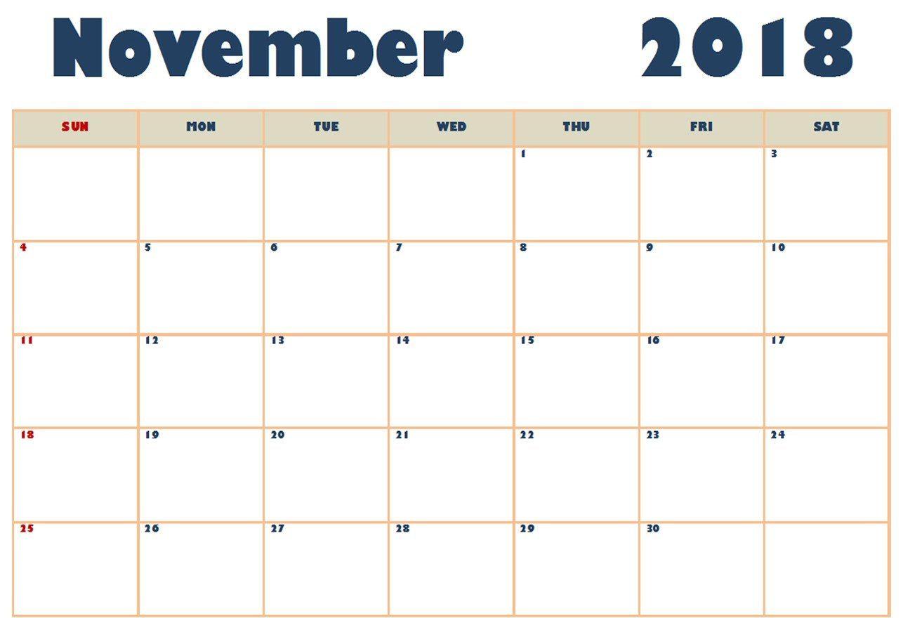 Print November 2018 Calendar PDF