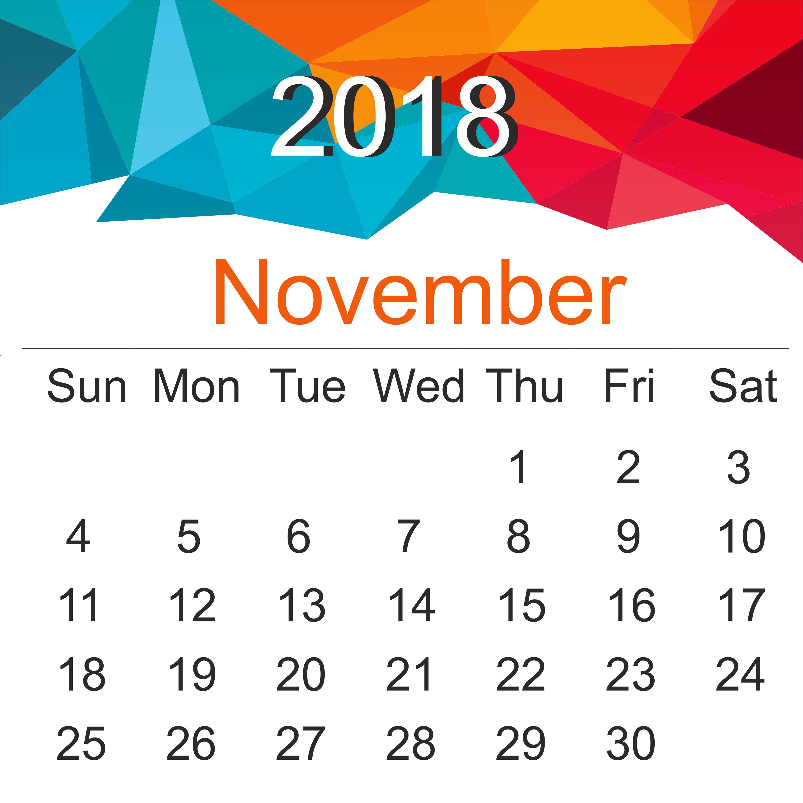Print November 2018 Calendar Page
