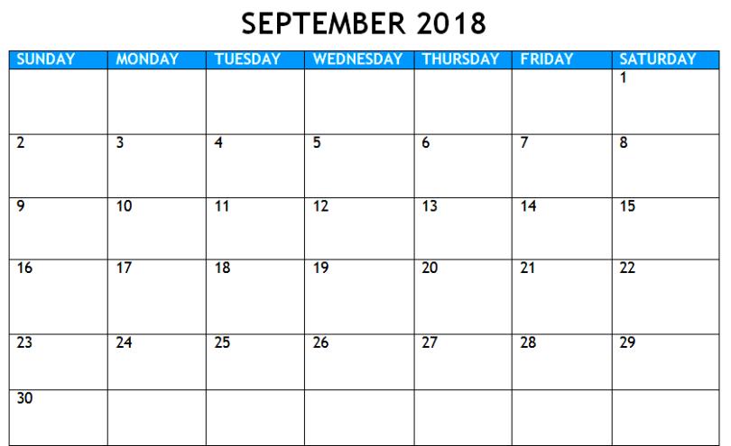 Print September 2018 Calendar Doc