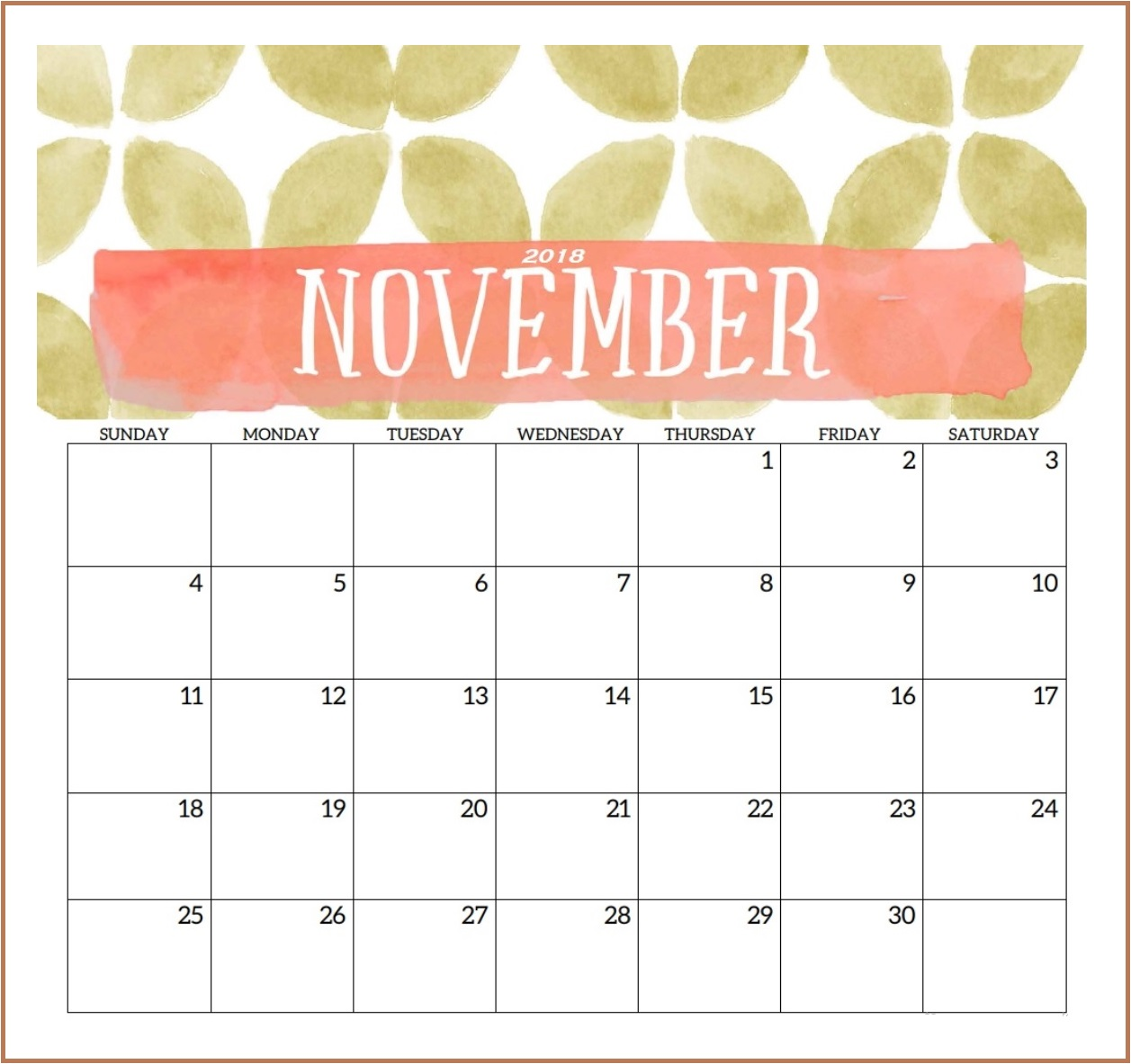Printable Cute November 2018 Calendar