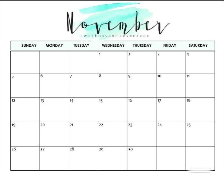Printable November 2018 Calendar Cute