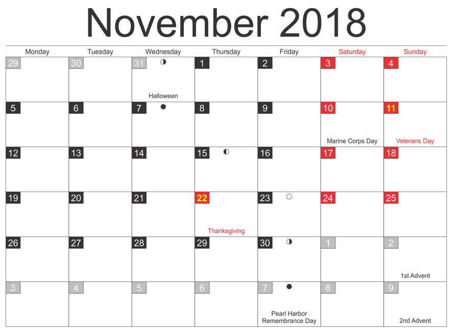 Printable November 2018 Calendar Holidays