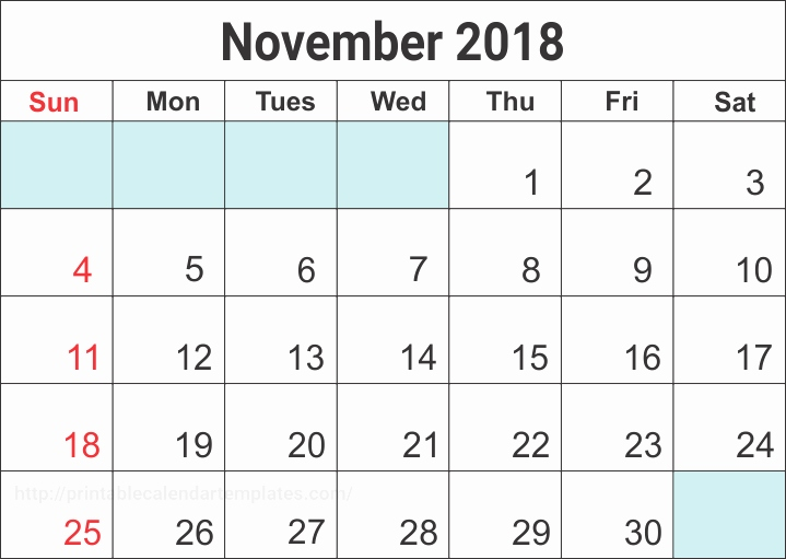 Printable November 2018 Calendar Word