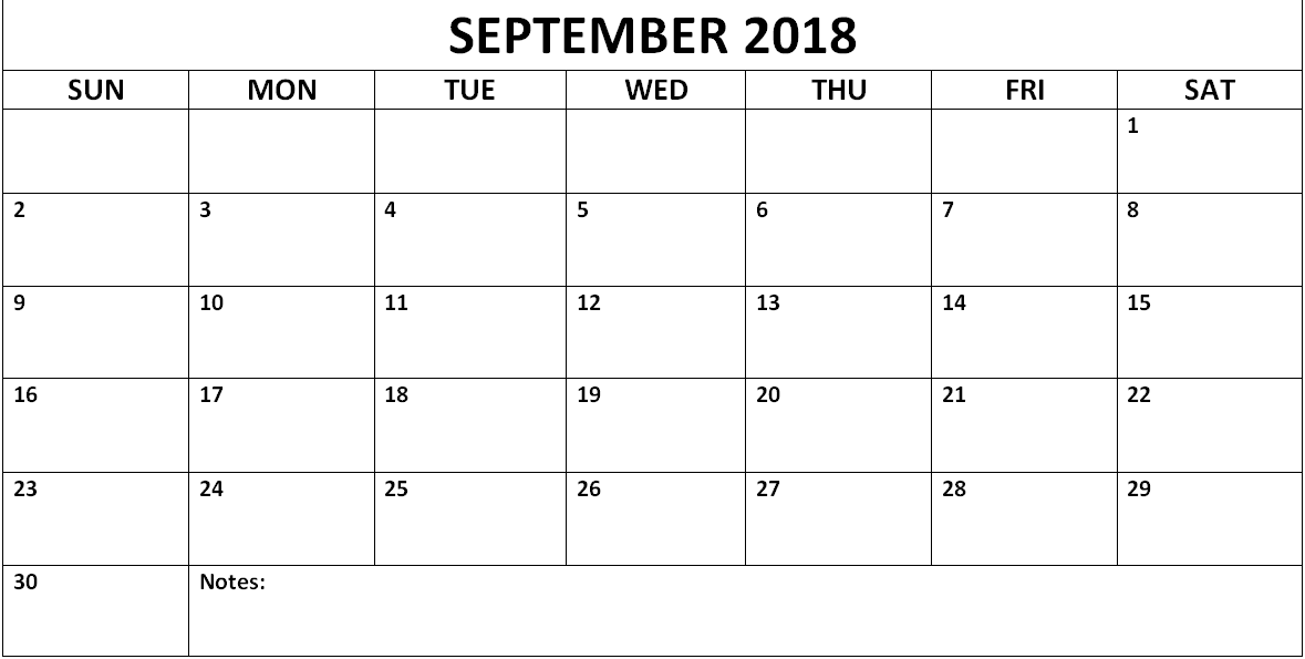 Printable September 2018 Calendar Blank Template