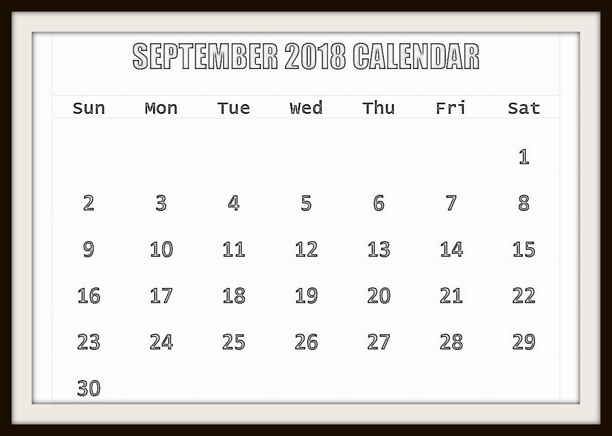 Printable September 2018 Calendar Landscape