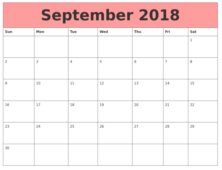 Printable September 2018 Calendar Pink
