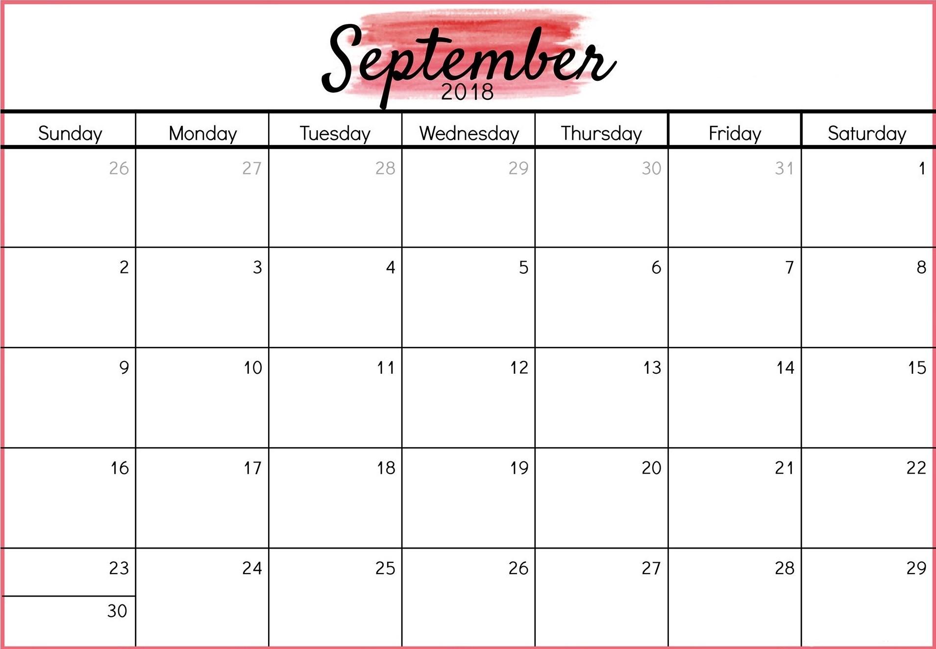 Printable September 2018 Calendar Planner