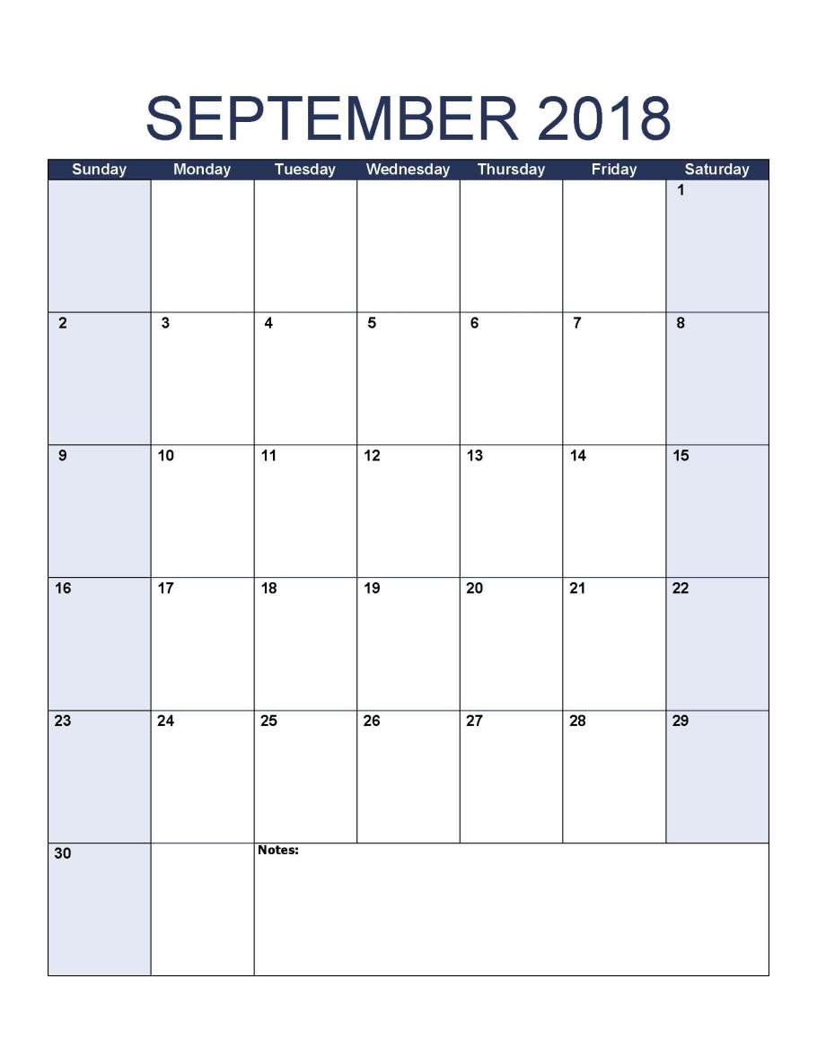 Printable September 2018 Calendar Portrait