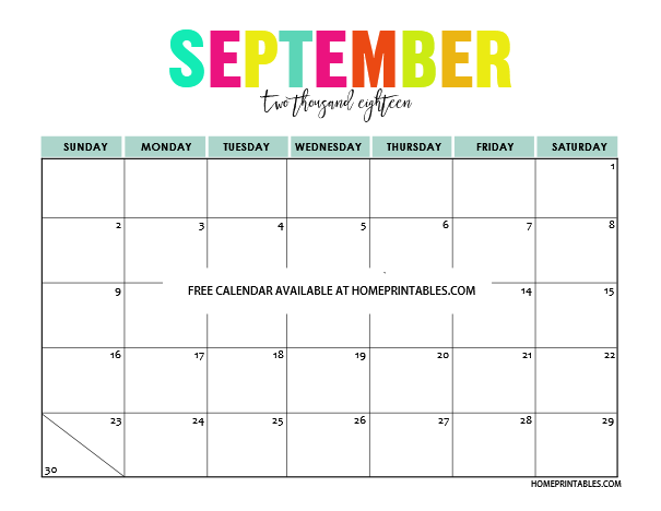 Printable September 2018 Calendar Template