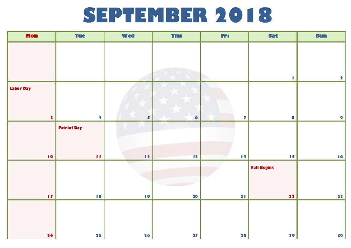 Printable September 2018 Calendar USA Holidays