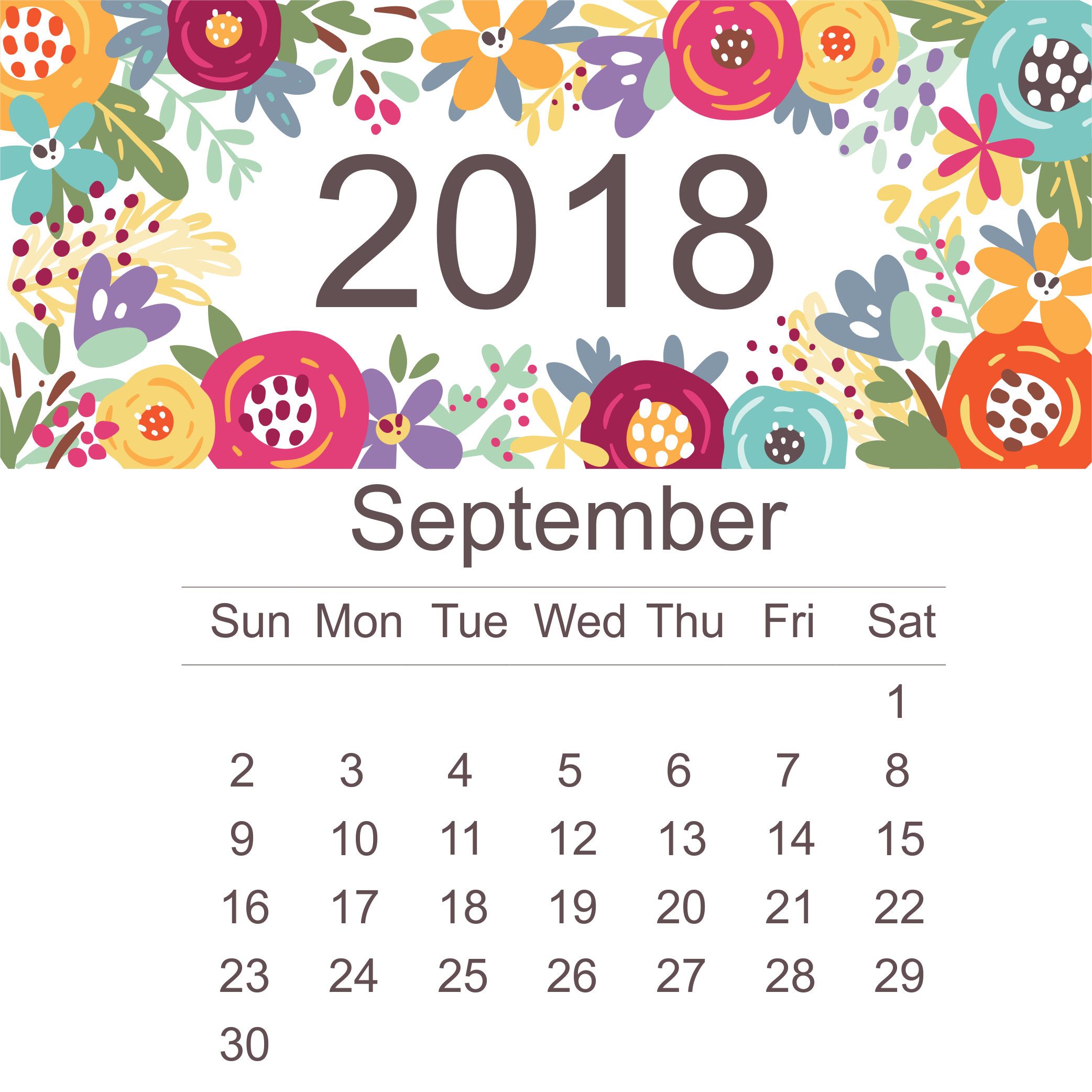 Printable September 2018 Desk Calendar