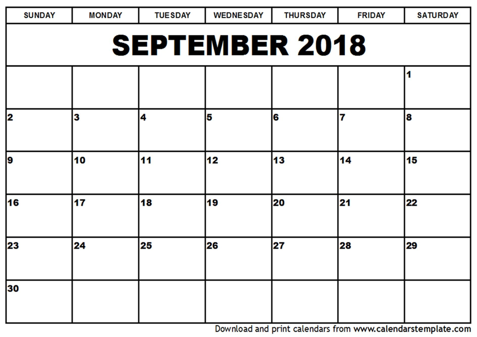 September 2018 Blank Calendar Tumblr