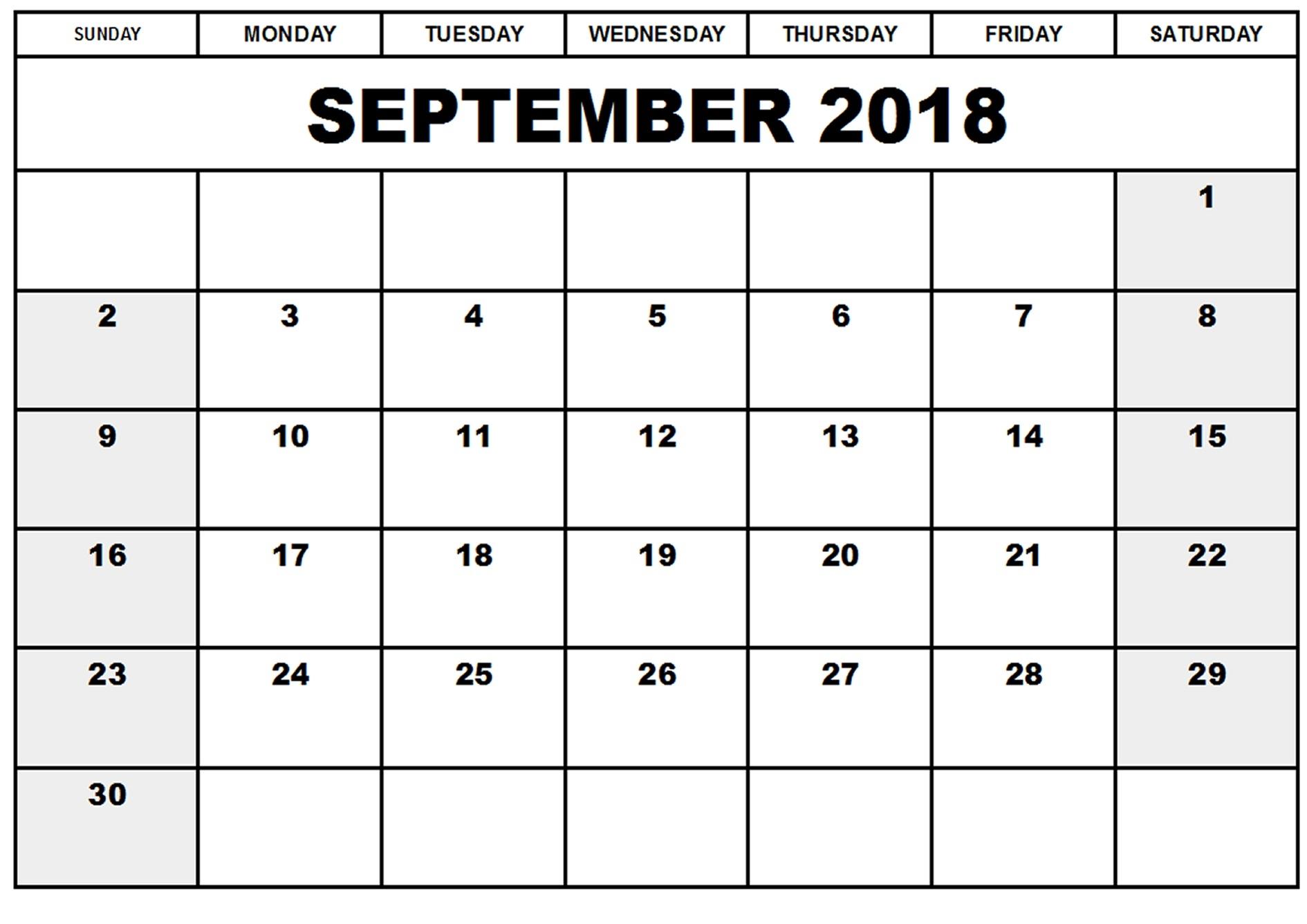 September 2018 Calendar India Printable
