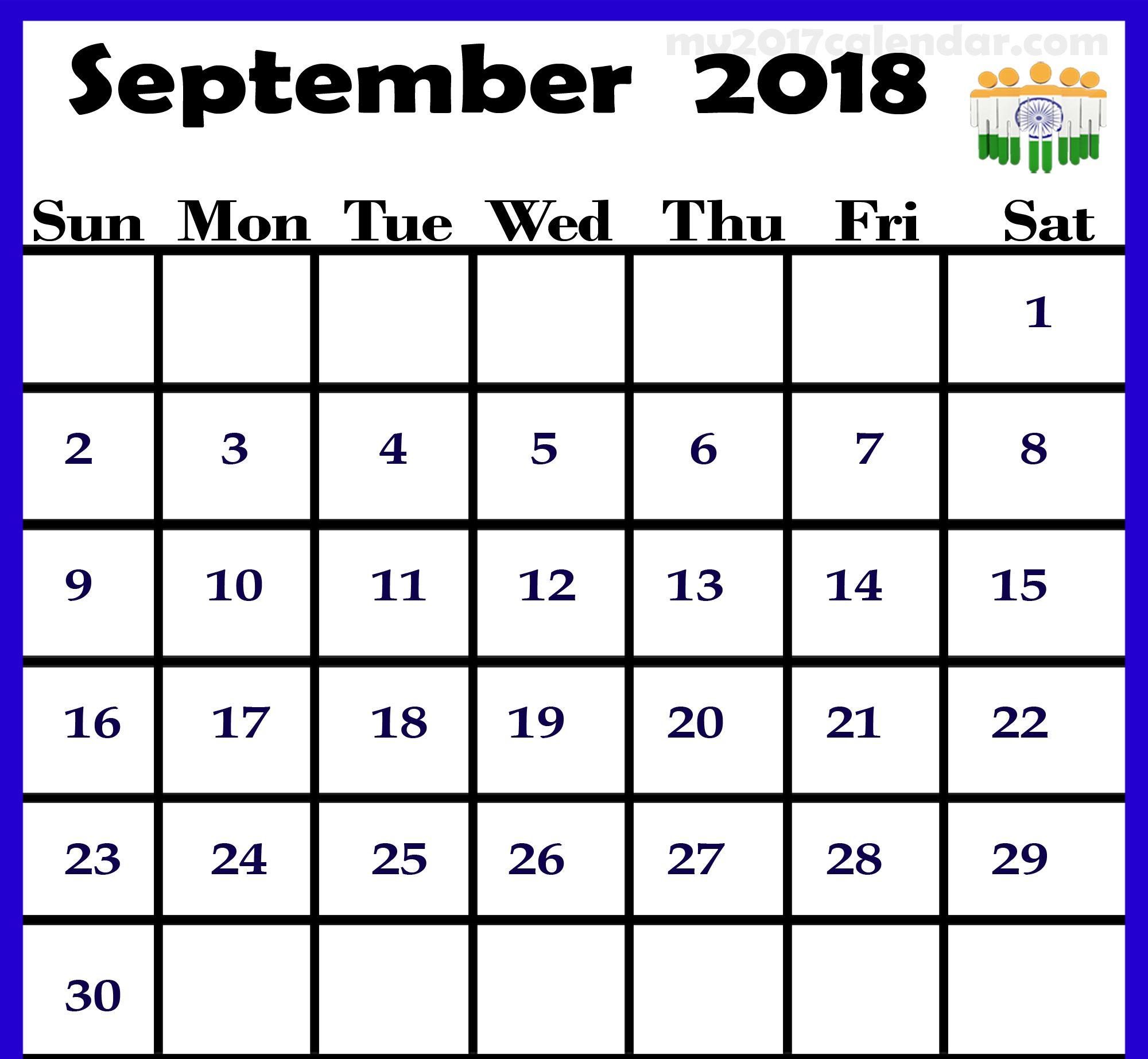 September 2018 Calendar India