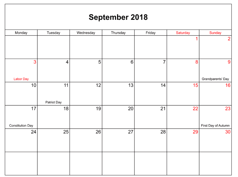 September 2018 Calendar Landscape With Holidays