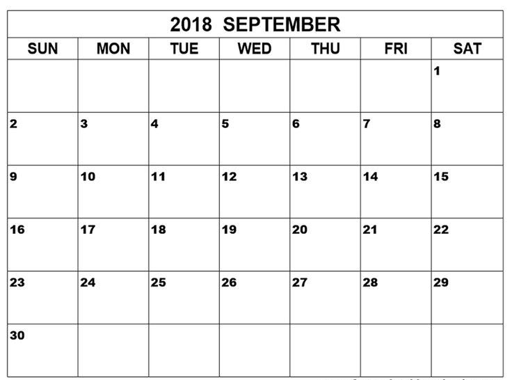 September 2018 Calendar Landscape in PDF Word Excel