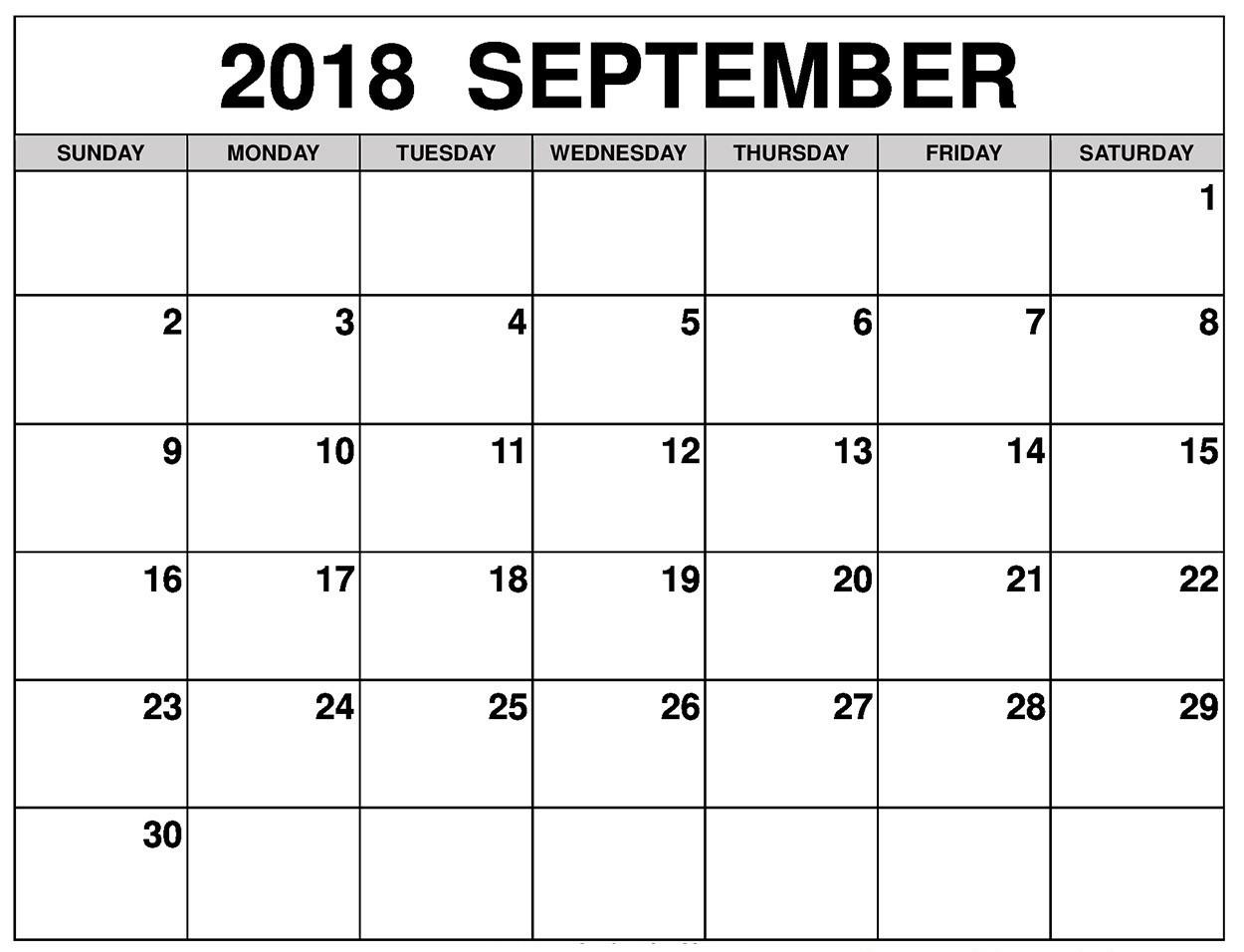 September 2018 Calendar Landscape