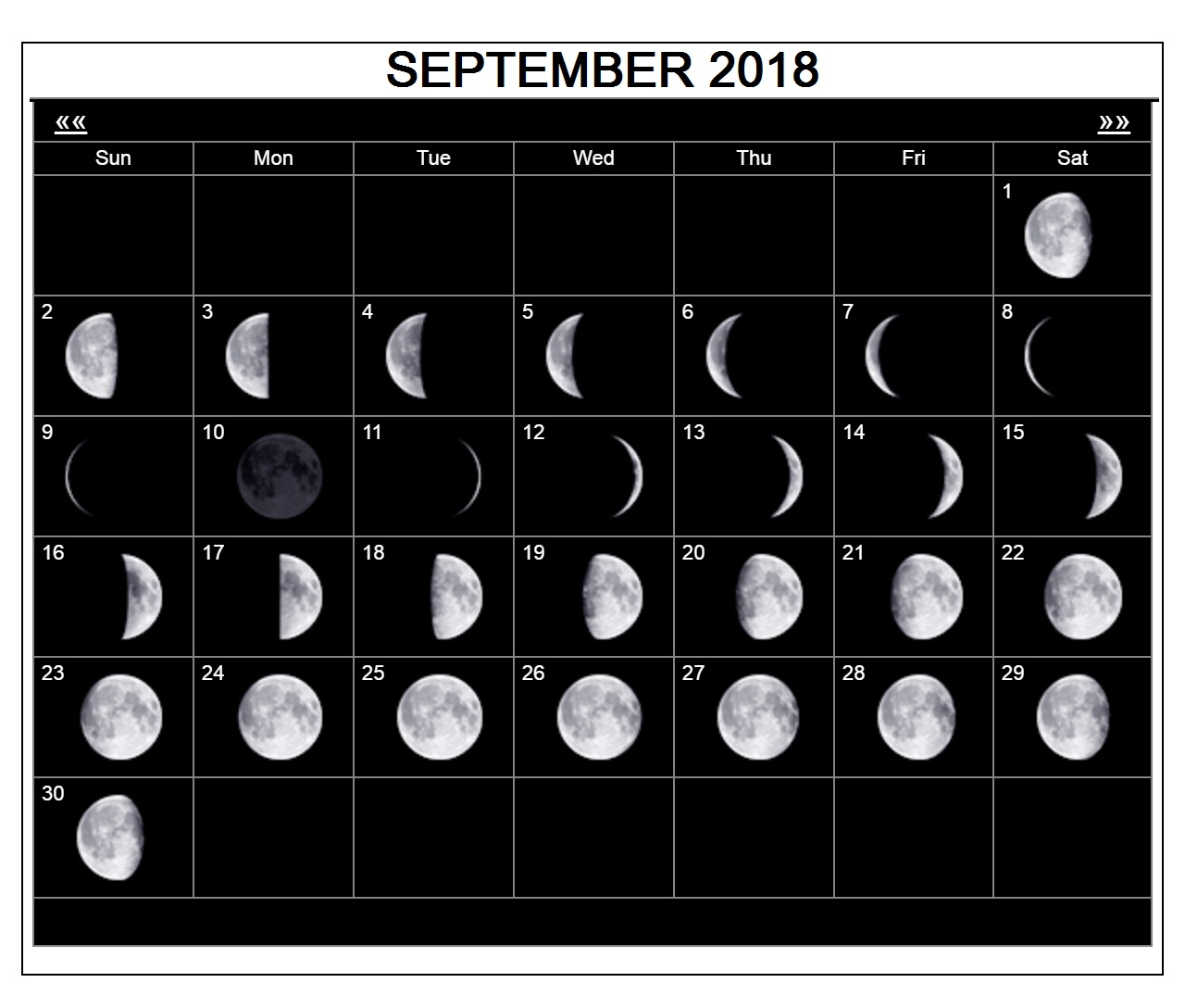 September 2018 Calendar Moon Phases
