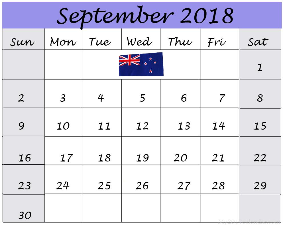 September 2018 Calendar NZ