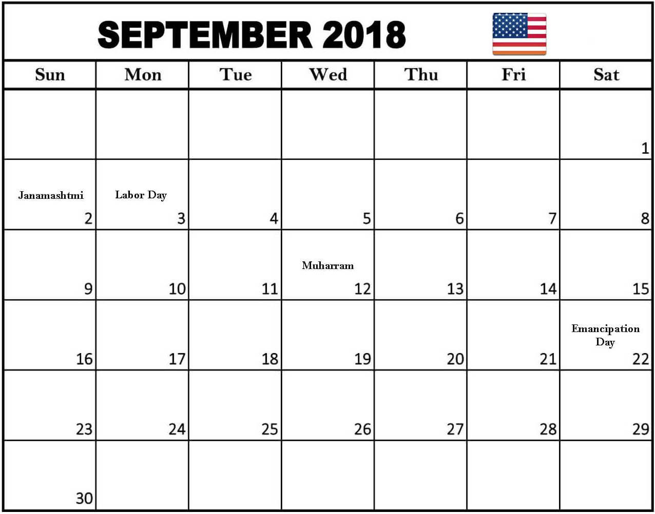 September 2018 Calendar New Zealand National Holidays