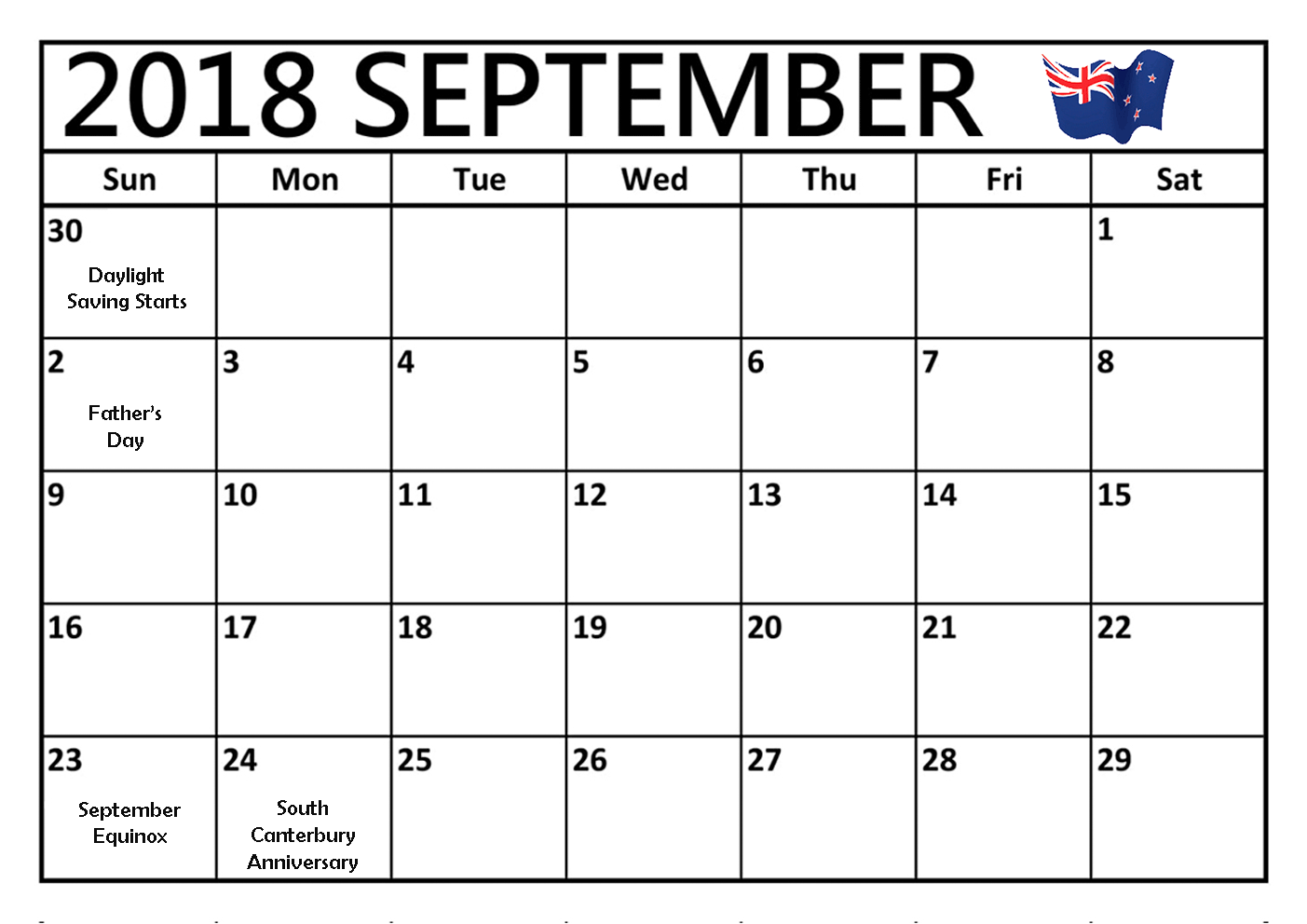 September 2018 Calendar New Zealand Templates