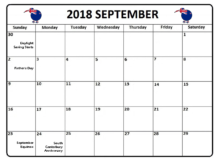 September 2018 Calendar New Zealand With Holidays