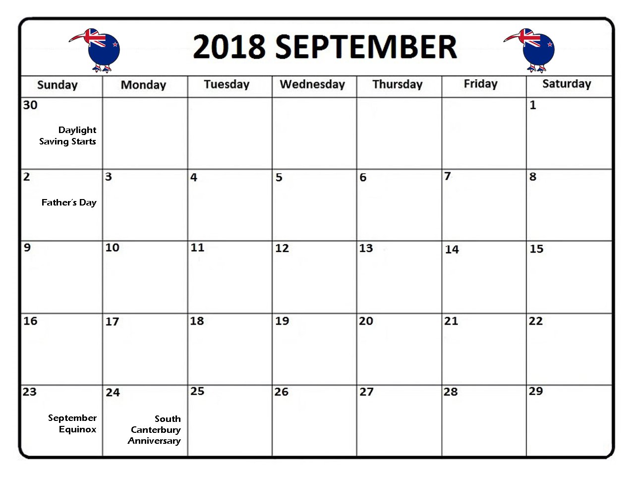 September 2018 Calendar New Zealand With Holidays