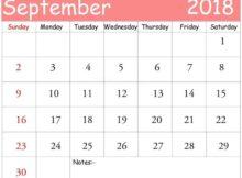 September 2018 Calendar Philippines Printable