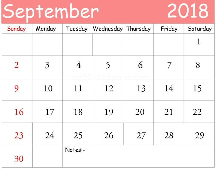 September 2018 Calendar Philippines Printable