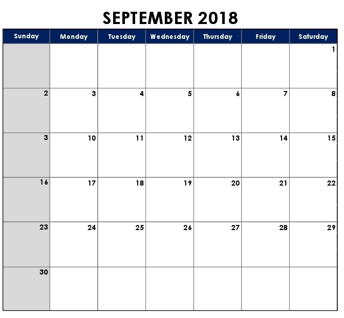 September 2018 Calendar Philippines