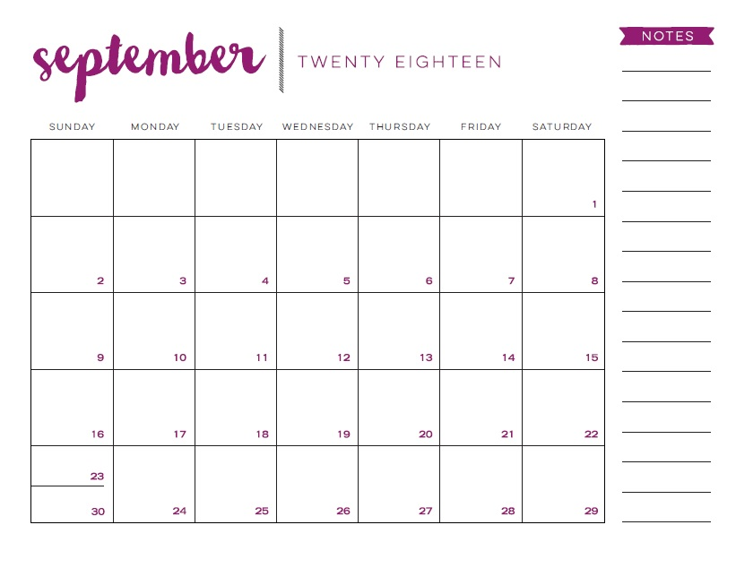 September 2018 Calendar Printable For Tumblr