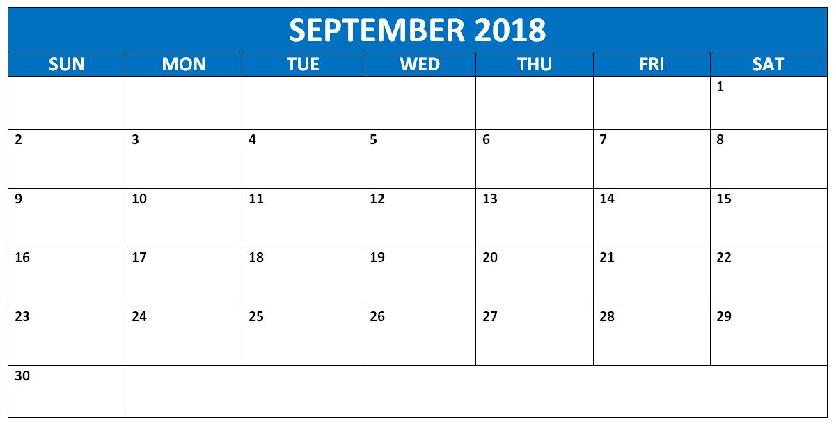 September 2018 Calendar Tumblr Free