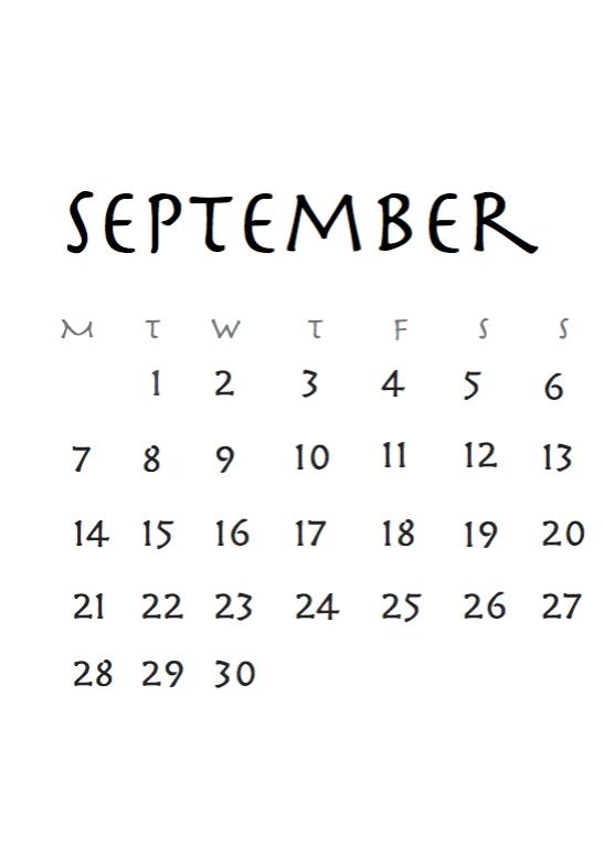September 2018 Calendar Tumblr Images