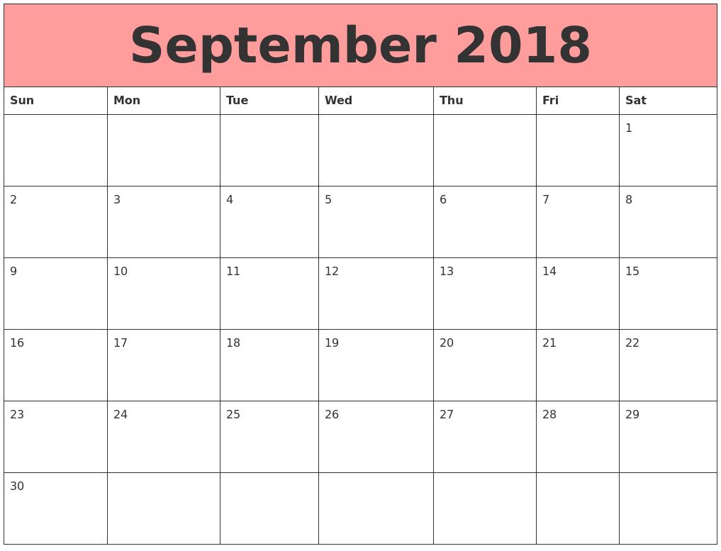 September 2018 Calendar Tumblr