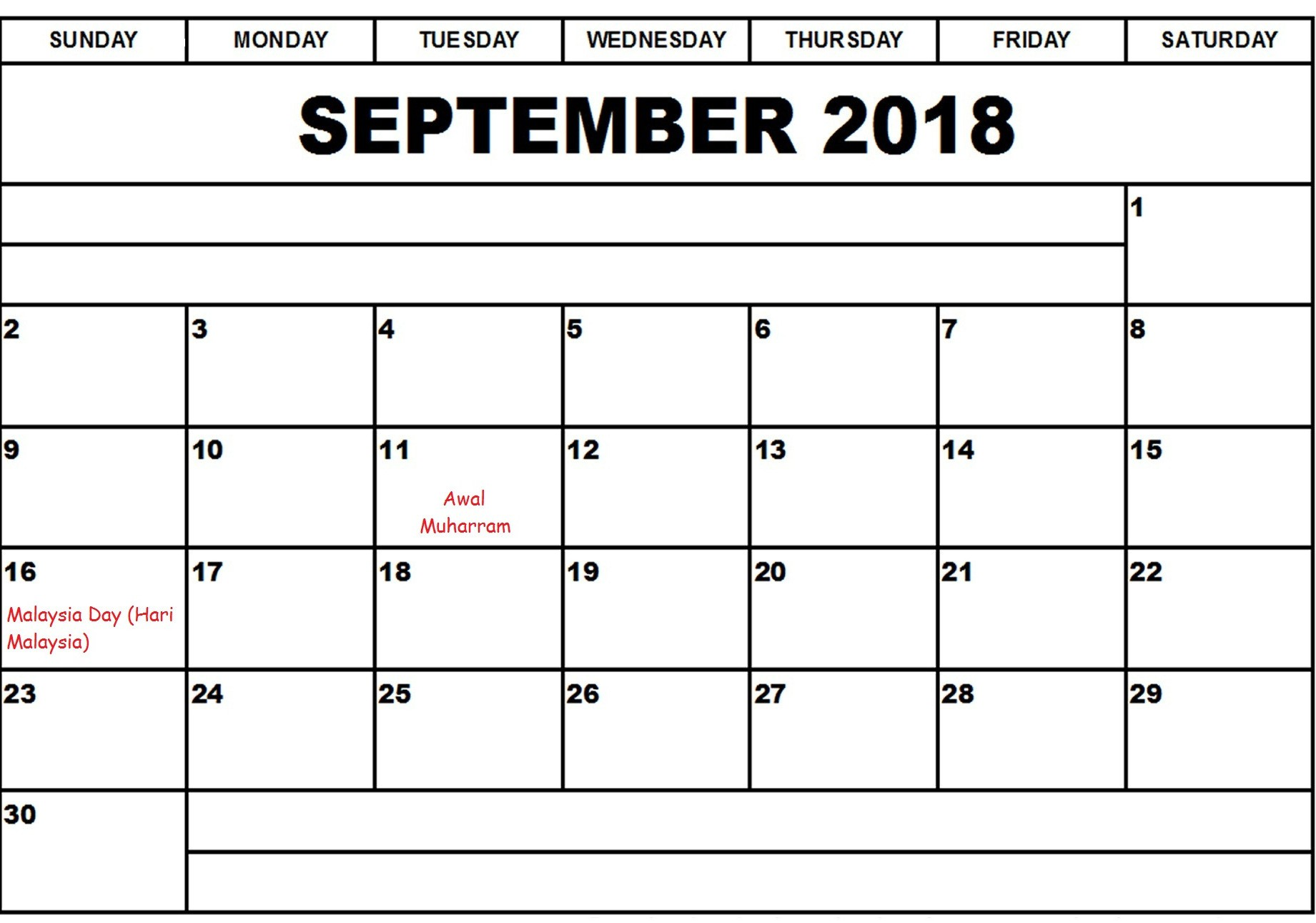 September 2018 Calendar With Holidays Malaysia