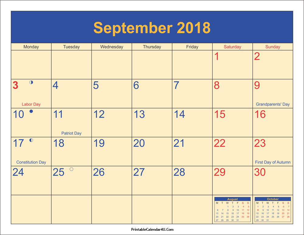 September 2018 Calendar With Holidays Moon Phases