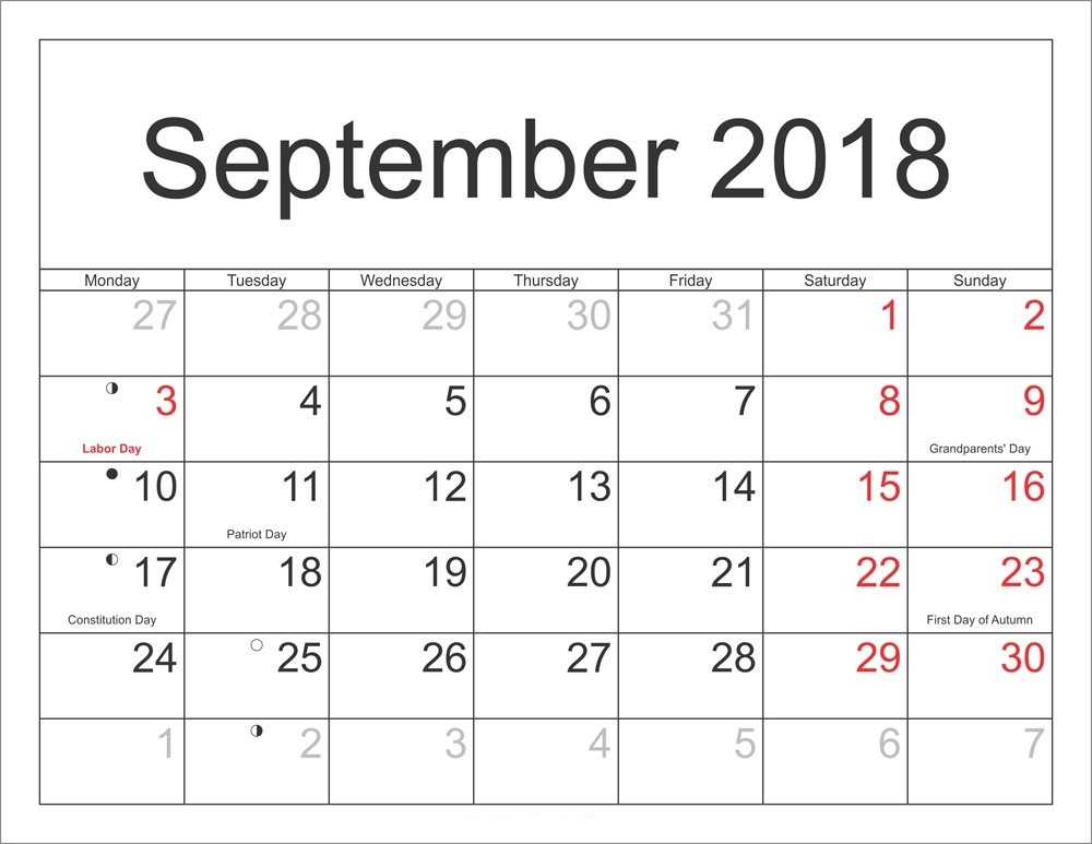 September 2018 Full Moon Calendar