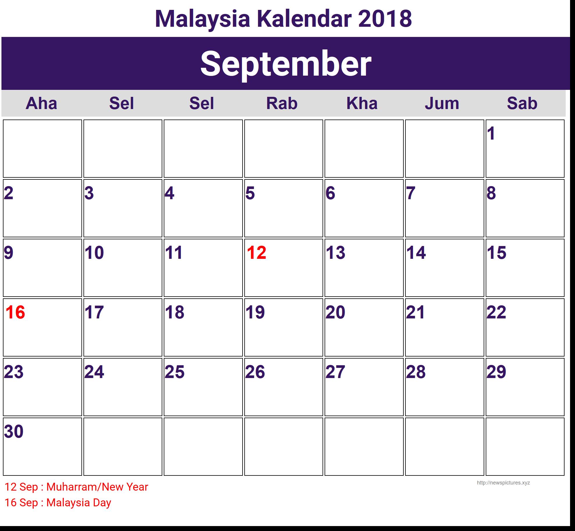 September 2018 Holidays Malaysia Calendar