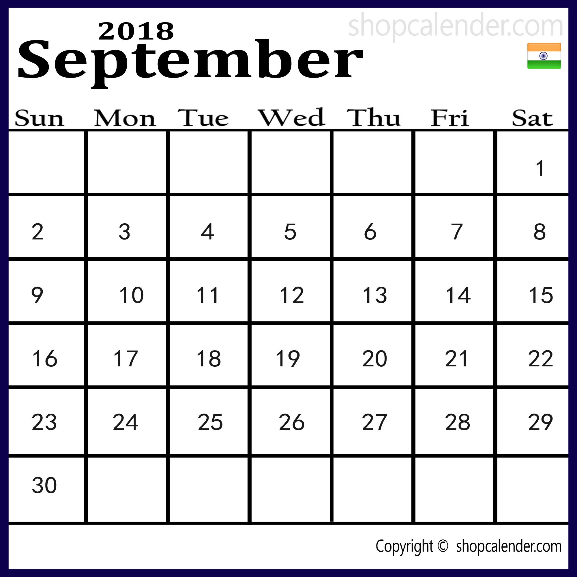 September 2018 Indian Calendar