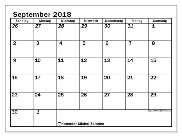 September 2018 Kalender Druckbar