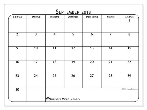 September 2018 Kalender Kuda