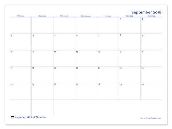 September 2018 Kalender PDF