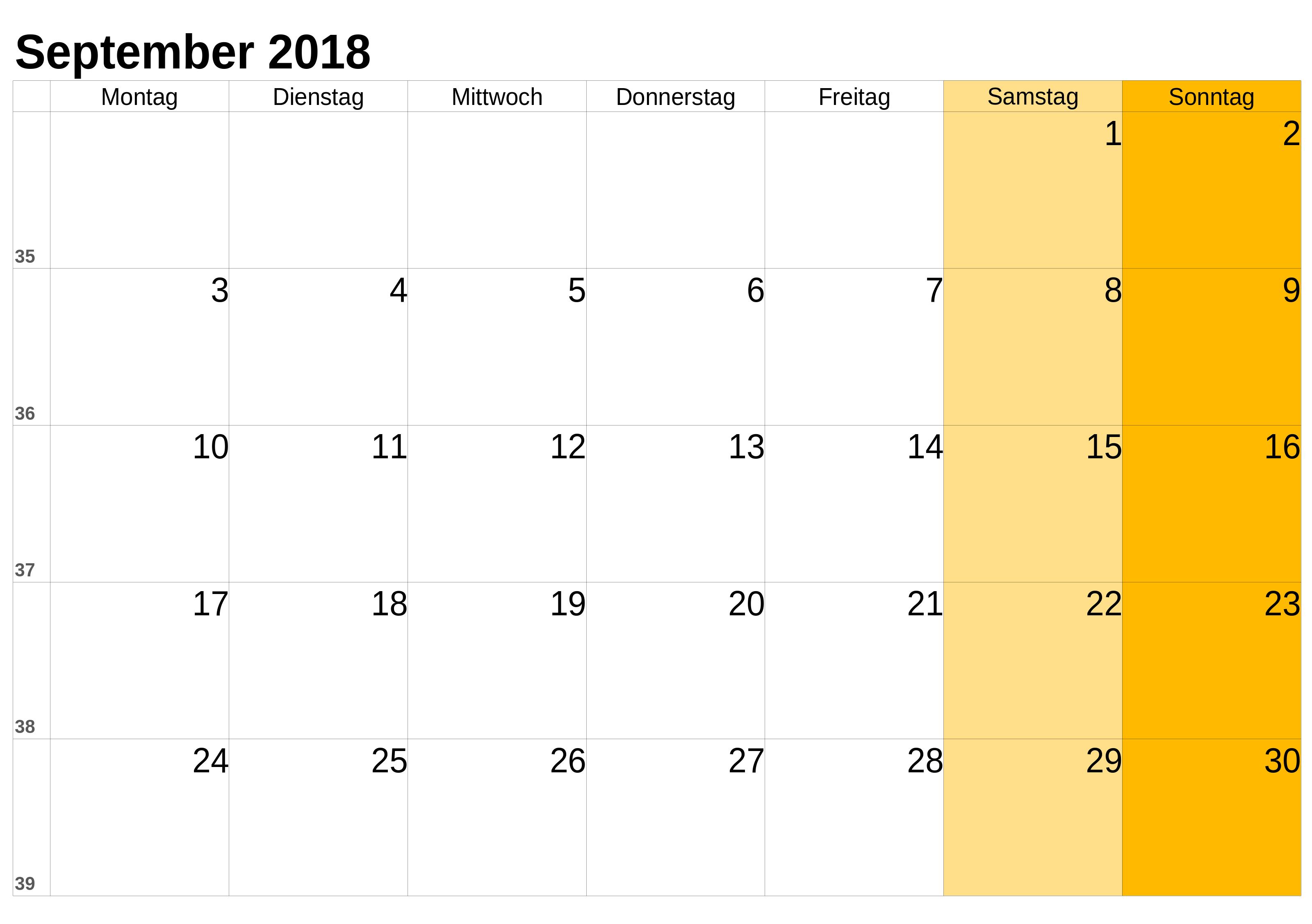 September 2018 Kalender mit Feiertagen