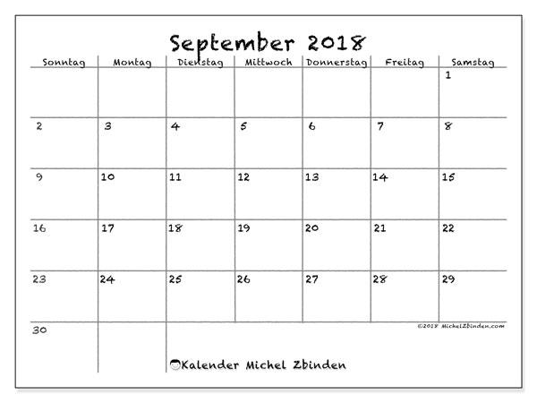 September 2018 Kalender