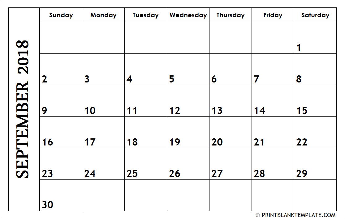 September 2018 Landscape Calendar