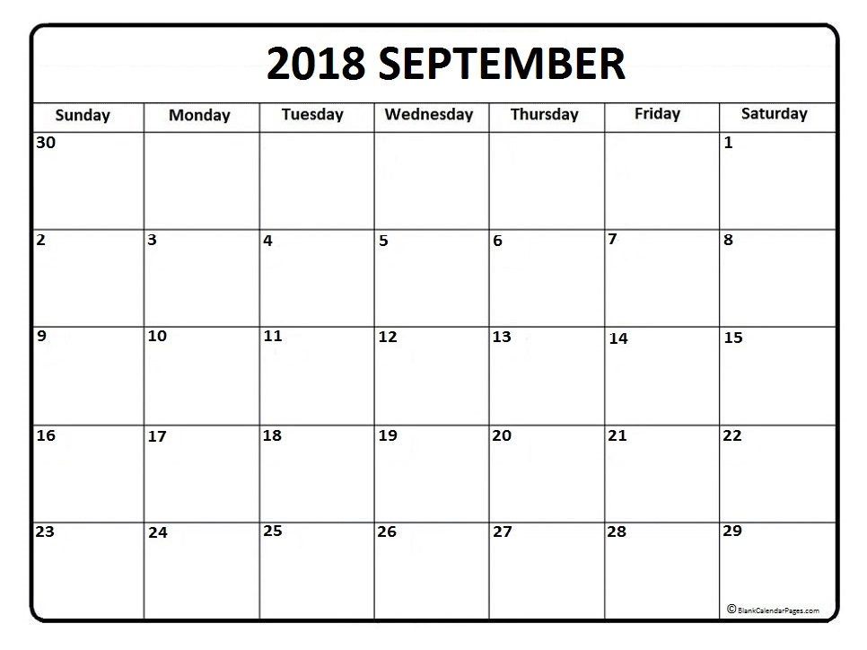September 2018 Tumblr Calendar in PDF Word Excel
