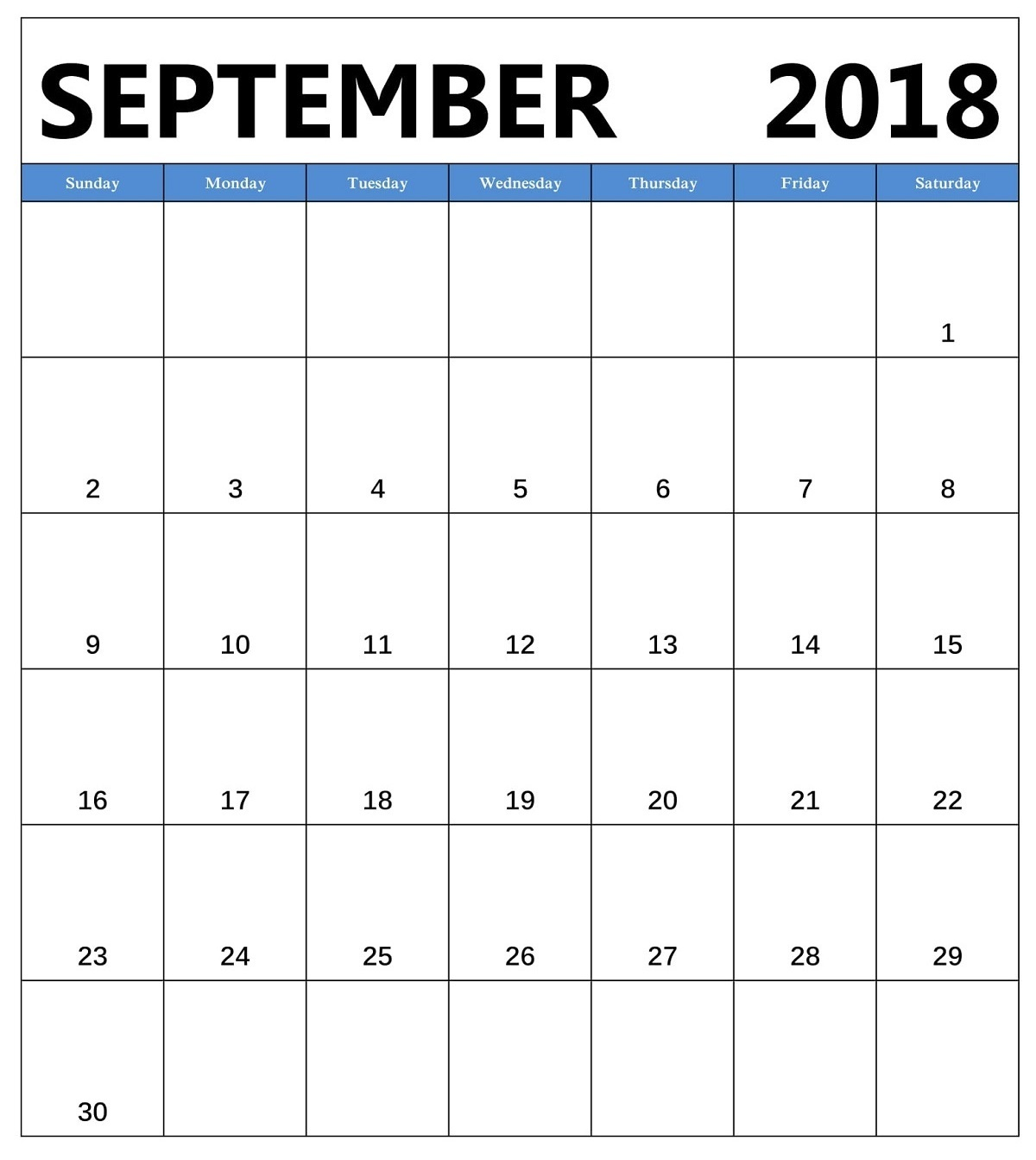 September Calendar 2018 Portrait