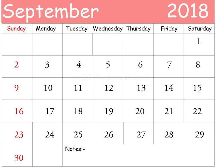 September Calendar 2018 Tumblr